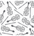 Seamless Pattern with Wooden Fiddle or Violin vector image