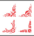 set of four traditional folk ornaments vector image