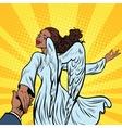 Follow me beautiful angel girl African American vector image