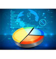 Pie chart on the rise business graph background vector image