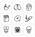 Smoking and effects on the body icons set vector image