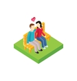 Couple on Bench Isometric Design vector image