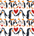 Seamless background with penguins in love vector image