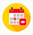 calendar cap event graduation icon vector image