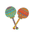 colorful maracas with mexican ornament cartoon vector image