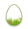 Easter paper sticker eggs with green grass and vector image