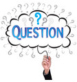 hand isolate pencil idea write blue question vector image