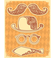 Retro party objects with moustaches vintage on old vector image