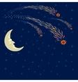 Space landscape moon face stars falling comet vector image