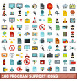 100 program support icons set flat style vector image