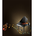 A gray piano with musical notes vector image vector image