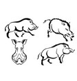 set of black images of wild boars abstract vector image