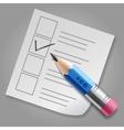 Blue pencil and checklist vector image