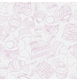 Seamless sweet cupcake party background pattern vector image