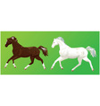 2 horses on green background vector image