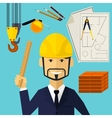 Architect constructor worker at his work place vector image