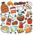 Coffee and Tea Badges Patches Stickers vector image