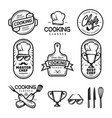 cooking classes labels set vintage vector image
