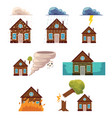 flat house insurance concepts set vector image
