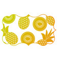 frame with fruits pattern background vector image