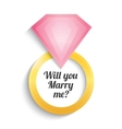 Wedding gold ring with diamond Engagement vector image