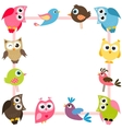 frame with funny colorful birds vector image vector image