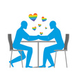 Gays in cafe Rainbow heart - symbol of LGBT love vector image