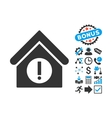 Danger Building Flat Icon with Bonus vector image