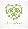 Animal foot print heart in eco style vector image vector image