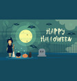 Happy halloween greeting card witch at night on vector image