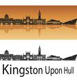 Kingston Upon Hull skyline in orange background vector image