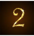 Number two of gold glittering stars vector image