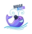 Cute whale and sale text vector image vector image