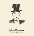 gentleman club drawn label sketch vector image