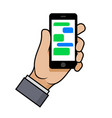 hand holding a smartphone with chat bubbles on vector image