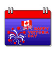 happy victoria day card with fireworks flag vector image