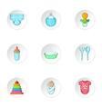 Newborn icons set cartoon style vector image
