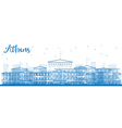 Outline Athens Skyline with Blue Buildings vector image