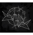 stylized paper crane birds vector image
