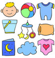 doodle of object baby various set vector image