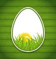 Easter paper sticker eggs on wooden background vector image