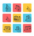 Flat square music icons vector image