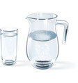 glass of water and glass jug vector image vector image