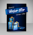 Brochure Design Template with Blue Christmas Gifts vector image vector image
