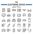 electronic device line icon set technology vector image