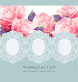 pink roses on vintage delicate blue lace card vector image