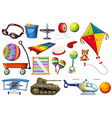 Set of toys and transportations vector image