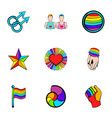 Unisexual relation icons set cartoon style vector image
