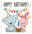 greeting card rabbit and bear vector image