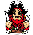 pirate eat steak vector image